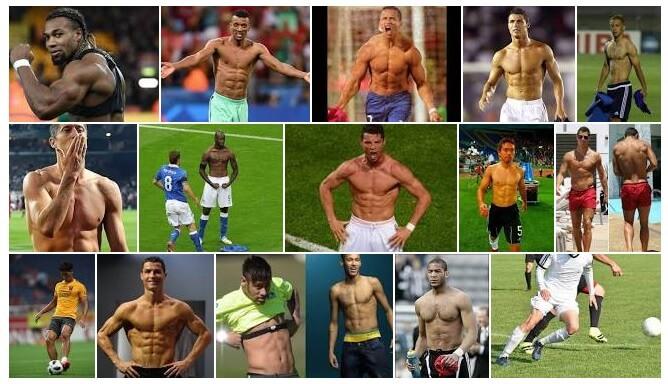 筋肉ボディのサッカー選手